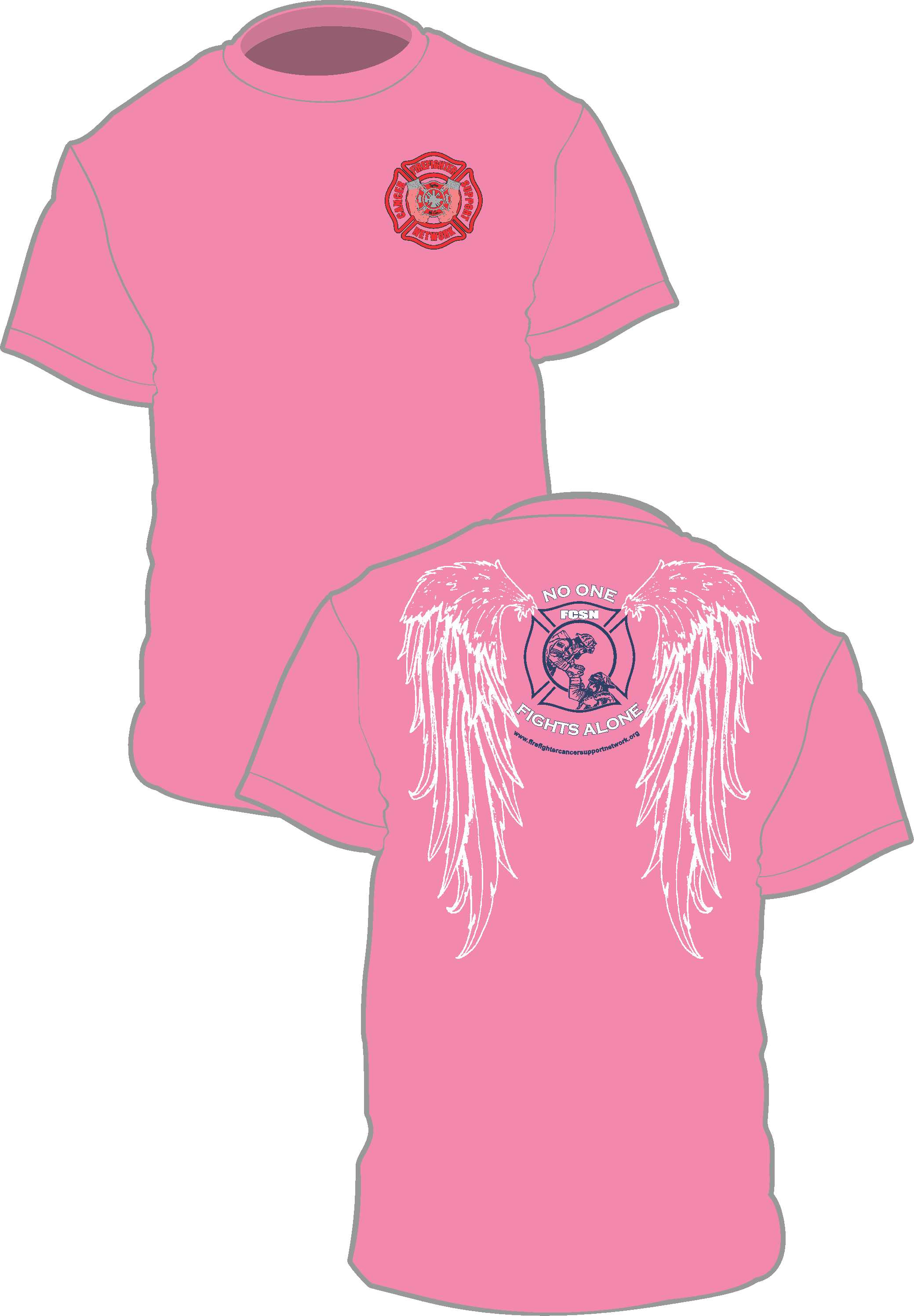 Breast Cancer Awareness T Shirt W Wings Firefighter